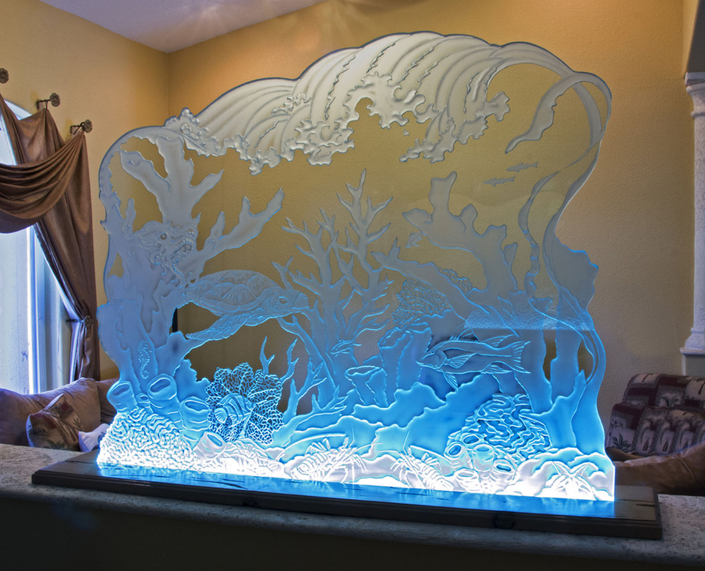 , Illuminated Etched & Carved Glass by Glass Menagerie