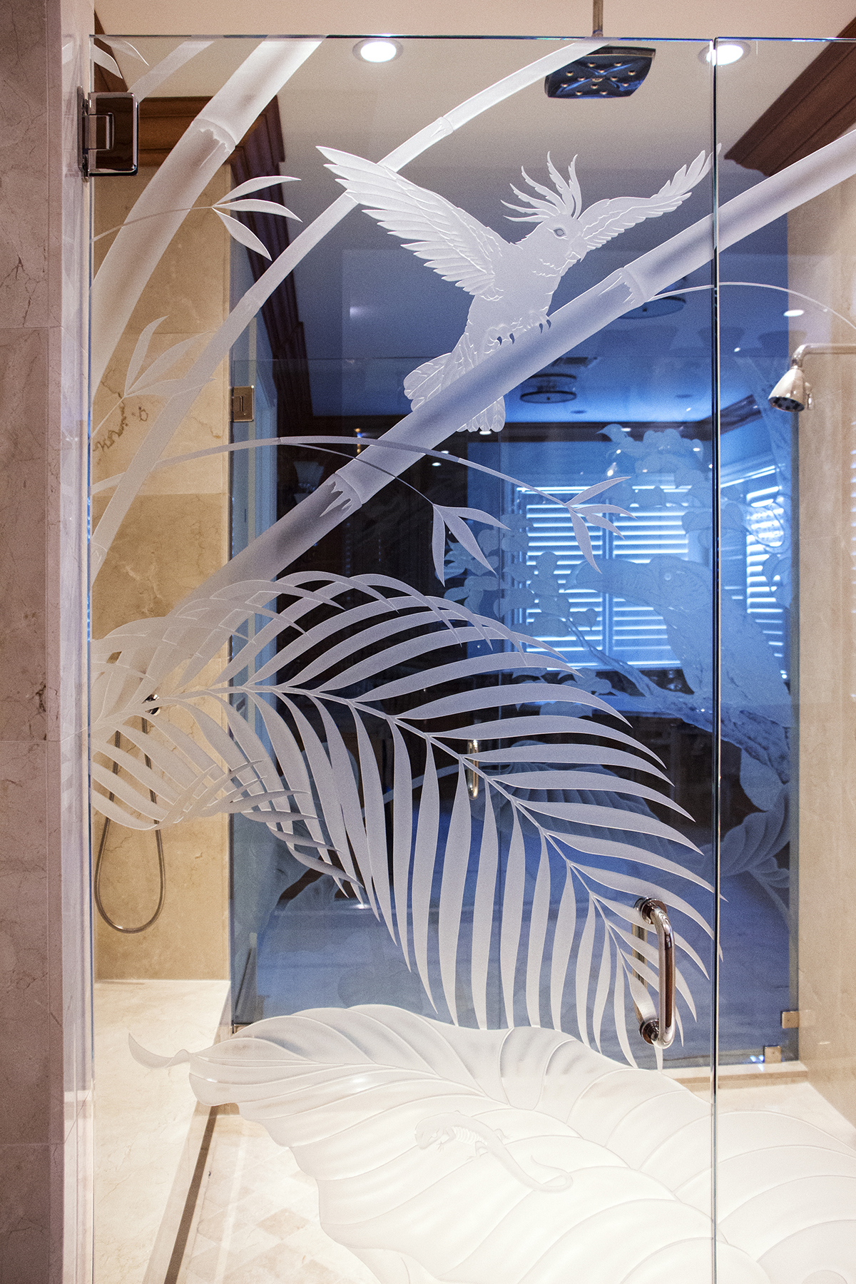 1800 #245FA7 Tropical Shower Door Back Entrance wallpaper Etched Glass Front Doors 39351200