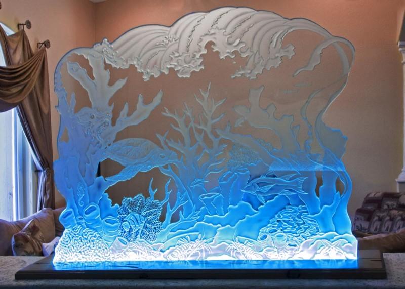 Decorative Glass Panels, Decorative Glass Panels – LED illuminated Etched Glass Art